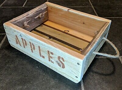 Hand-Made Rustic Wooden APPLES & PEARS Crate / Box / Tray