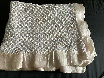 Vintage Quiltex Baby Blanket Satin Plush Lovey Security White