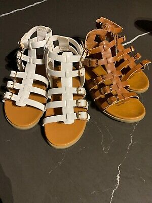 Seed Girls Gladiator Size 29 Sandle White BNNT Brown EUC