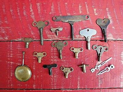 Lot Of 13 Antique And Vintage Clock Keys, Clock Hands And 1 Pendulum - Lot 1