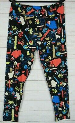 LuLaRoe Women's Leggings Black with Multi Color Animals Size TC2 New