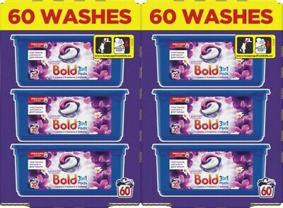 Bold 3-in-1 Washing Pods Liquid Gel Laundry Capsule Lavender/Camomile 120 Washes