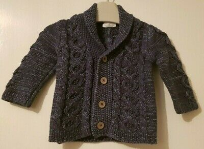 Boys Age 3-6 Months - Next - Cable Knit Dark Navy Cardigan - 100% Cotton.