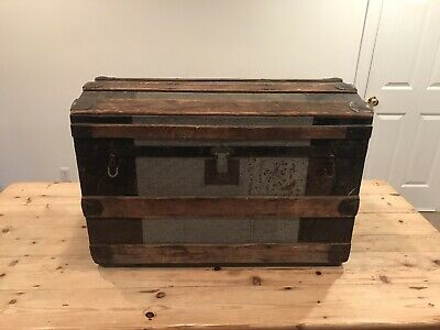 Antique Chest/Trunk With Tin Embossing All Original