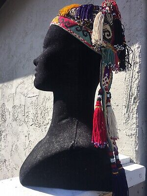 Vintage Traditional Ethnic Tribal Wear Head Dress Cap Hat Adorned Stitched