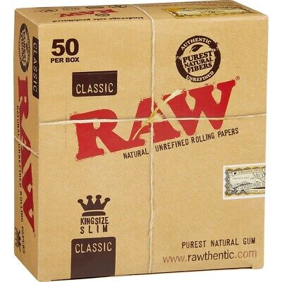 Raw classic king size slim rolling paper 50 ct