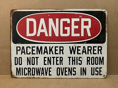 Vintage Danger Pacemaker Wearer Area Sign Metal Do Not Enter Microwave