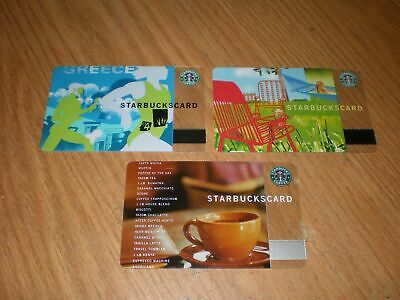 Lot 3 Collectible Starbucks Gift Cards Greece Lazy Days Classic Core Brown Cup