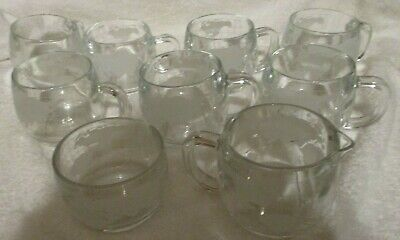 NESTLE NESCAFE World Globe Etched Frosted Glass 7 COFFEE CUPS  + CREAMER & SUGAR