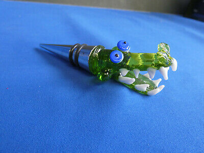 Handcrafted Blown Glass Dragon / Alligator NEW Wine Bottle Stopper Bar Gift 4A