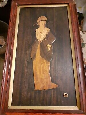 Marquetry beautifully depicted Lady in turn of the century attire
