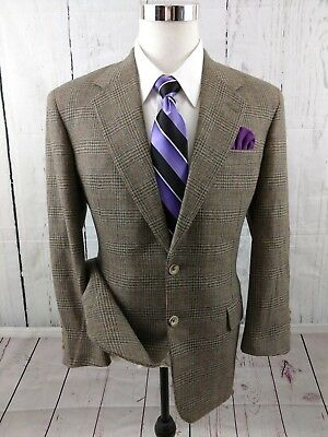 Tom James ROYAL CLASSIC Wool Glen Plaid Houndstooth Brown Sport Coat Size 40 S
