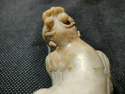 Chinese antique?nephrite white jade mouth opened big beast winged pixiu statue