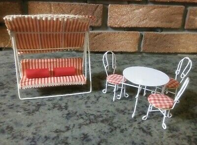Vtg Lot Of Dollhouse Miniature Furniture-Cafe' Set-Patio Swing-Red and White