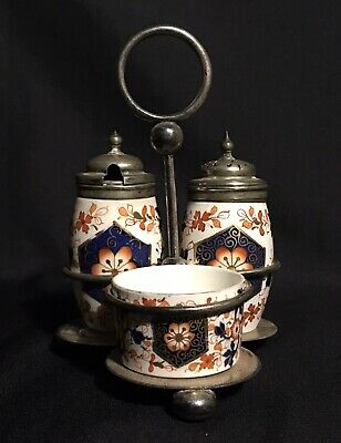 Early 19th Century English Gaudy Welsh Imari Colors Porcelain Condiment Set