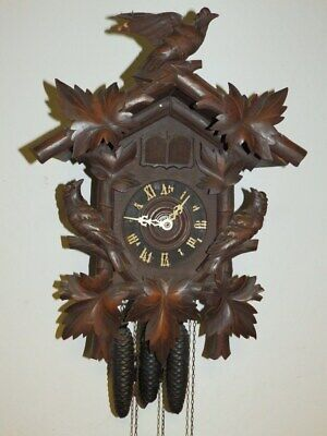 Nice Original Black Forest Cuckoo Quail Clock 3 Weights Schwarzwald Freiburg 1