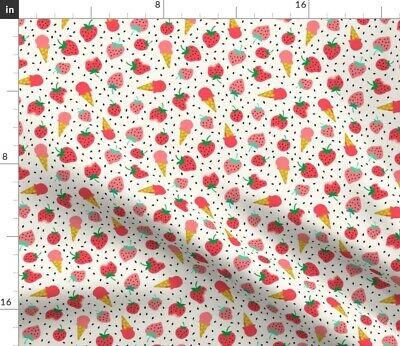 Strawberry Fruit Ice Cream Summer Baby Girl Fabric Printed by Spoonflower BTY