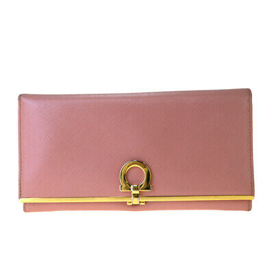 Auth Salvatore Ferragamo Gancini Leather Long Bill Wallet (bi-fold) Pink 03PA182