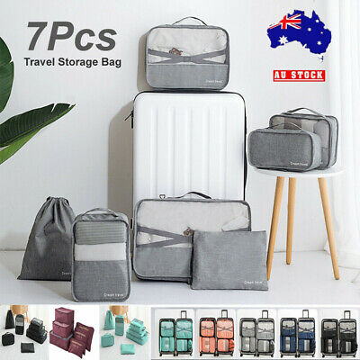7X Packing Cubes Travel Pouches Luggage Organiser Clothes Suitcase Storage Bag