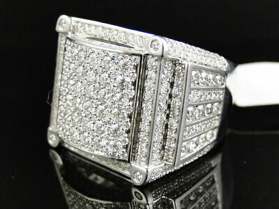 Mens High End Round Cut Invisible Diamond Pinky Band Ring 10K Solid White Gold