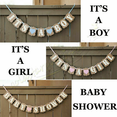 IT'S A BOY GIRL Baby Shower BANNER boy girl pink blue decorations bunting Party