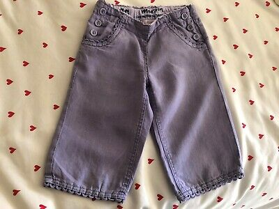 Monsoon Age 5-6 Years Girls Lilac Linen Trousers 4 Pockets Side Zip Buttons