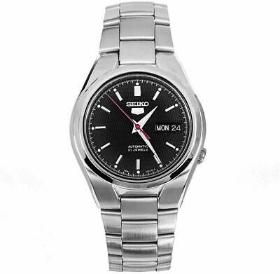 Seiko 5 Automatic Black Dial Silver Steel 37mm Mens Watch SNK607K1 RRP £169