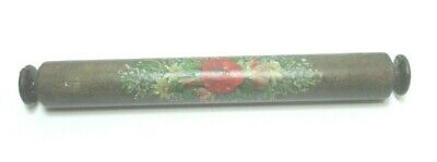 Antique Spa Work  Wooden Small Rolling Pin Floral Hand Painted  C. 1850