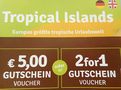 Tropical Islands b. Berlin Gutschein Rabatt Voucher 2 for 1: 45€ sparen od. 4x5€