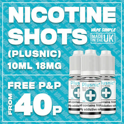 18MG Nicotine Shot 10ml 70/30 VG/PG | PlusNic+ Flavourless Nic Shots Eliquid