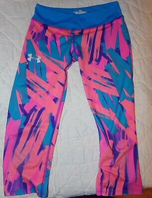 Under Armour Youth Size M Pink Blue Compression Capri Leggings Heatgear Cropped