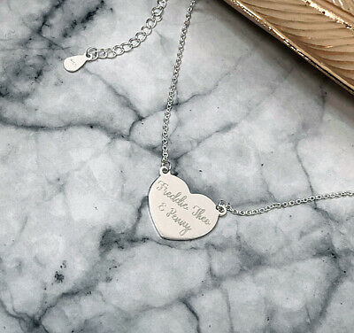 Personalised 925 Sterling Silver Solid heart Pendant Necklace, Mothers day