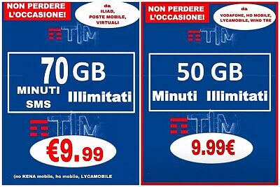 COUPON PASSA A TIM IRON 50GB MINUTI ILLIM Da HO MOBILE , TRE LYCAMOBILE