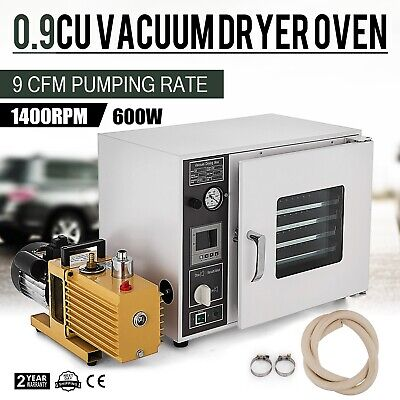 0.9cf Vacuum Oven w/ 9 cfm 2-Stage Pump 5-Sided Heating Aluminum Pan Shelves