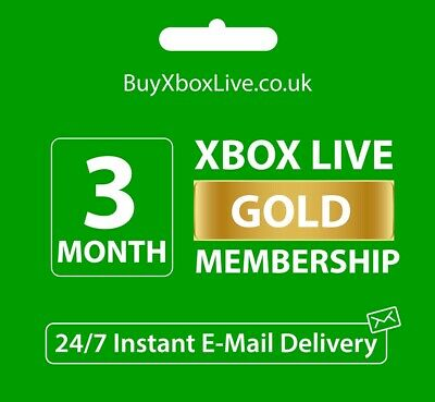 Xbox Live 3 Month Gold Membership Card For Microsoft Xbox 360 / Xbox One