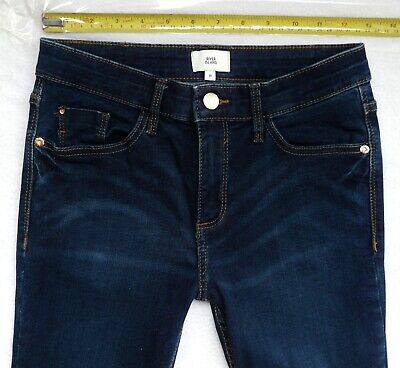 River Island Jeans 8 R super Skinny INDIGO navy wash mid rise jeans ladies girls
