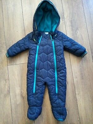 Boys Ted Baker 3-6 months all in one snowsuit pram suit warm navy blue