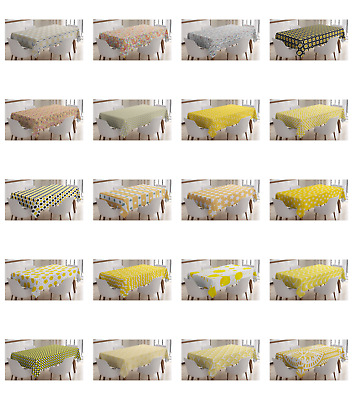 Ambesonne Yellow and White Tablecloth Table Cover for Dining Room Kitchen