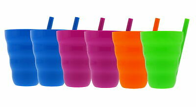 Sip-A-Cup with Built In Straw For Kids, 10oz - Purple, Blue, Green, Orange (6pk)