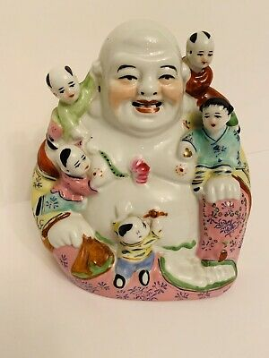 Antique Chinese Famille Rose Porcelain Laughing Buddha with children - Signed