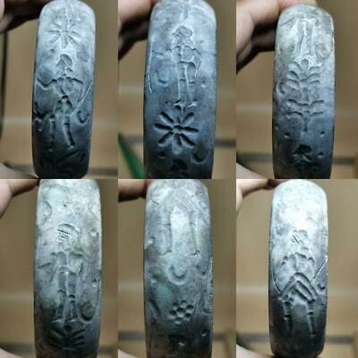 Near Eastern Ancient Jade stone intaglio Seal Bangle    # 129