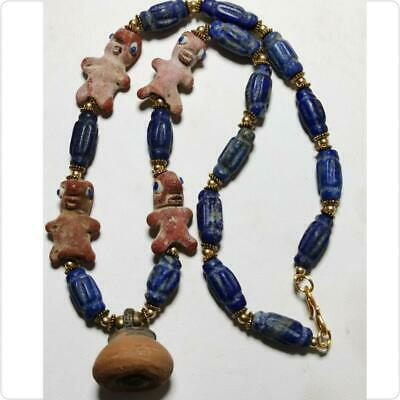 Beautiful  Necklace with Ancient Egyptian Lapis stone & Glass amulets