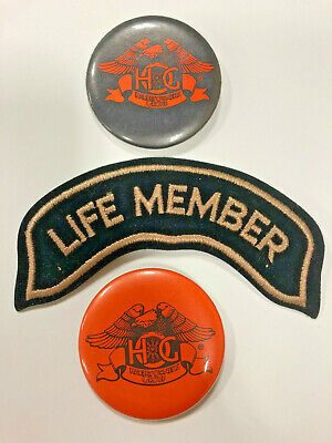 Harley Owner's Group Life Member Patch & 2 Buttons