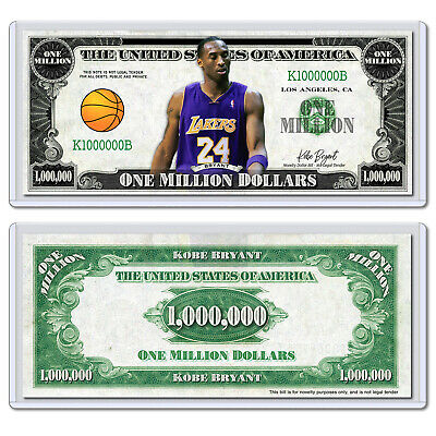 Kobe Bryant Mamba Los Angeles Lakers Million Dollar Bill Collectible with Case