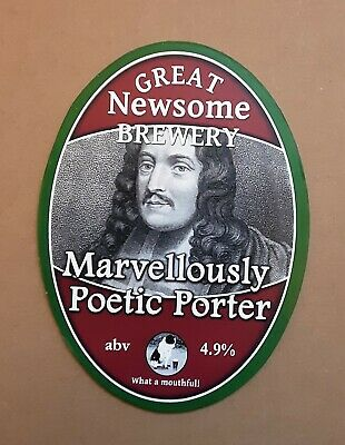 Marvellously Poetic Porter Used Pump Clip Front Great Newsome Brewery Homebar