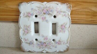 Vintage Lefton's Double Light Switch Plate Cover Floral Roses Pink, Purple Old