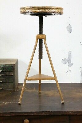 Vintage Drafting Stool industrial wood crank seat architect chair adjustable