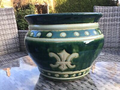 Majolica iridescent green arts and crafts jardiniere cache pot