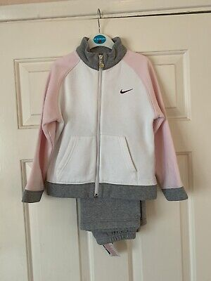 Girls Nike Tracksuit In Pink, White & Grey Age 6-7