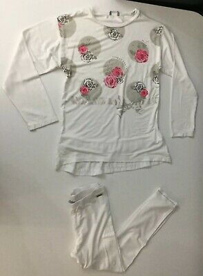 Sarahanda Girls Outfit 2 Piece Set Age 6 Years Top T Shirt Leggings White Floral